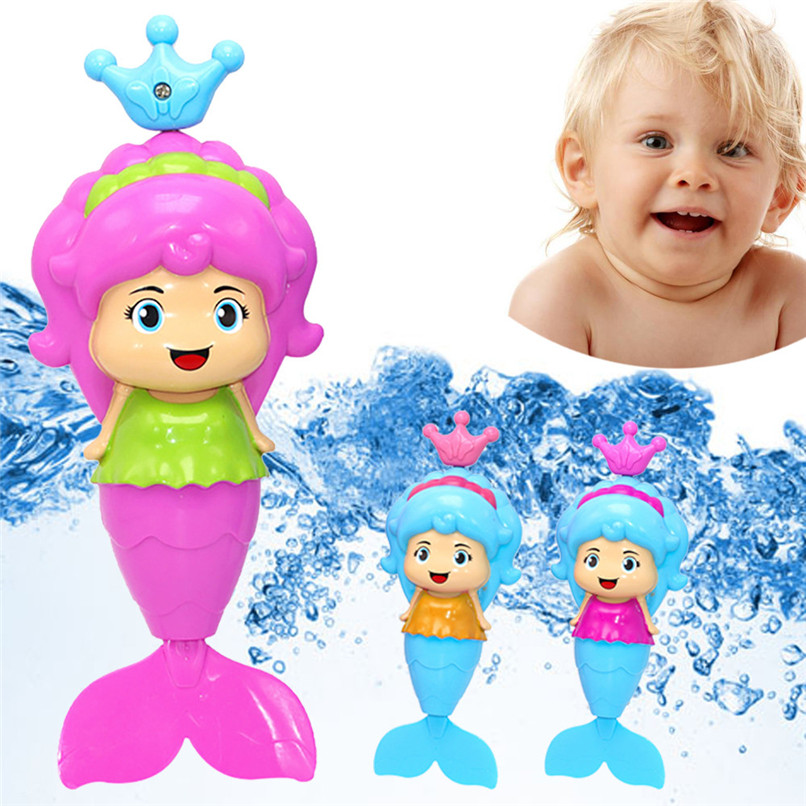 Dabbling Toy Random Color Cartoon Plastic Mermaid Wind Up Toy Baby Bath Shower Floating Water Toys suit for tub or pool JE11#F