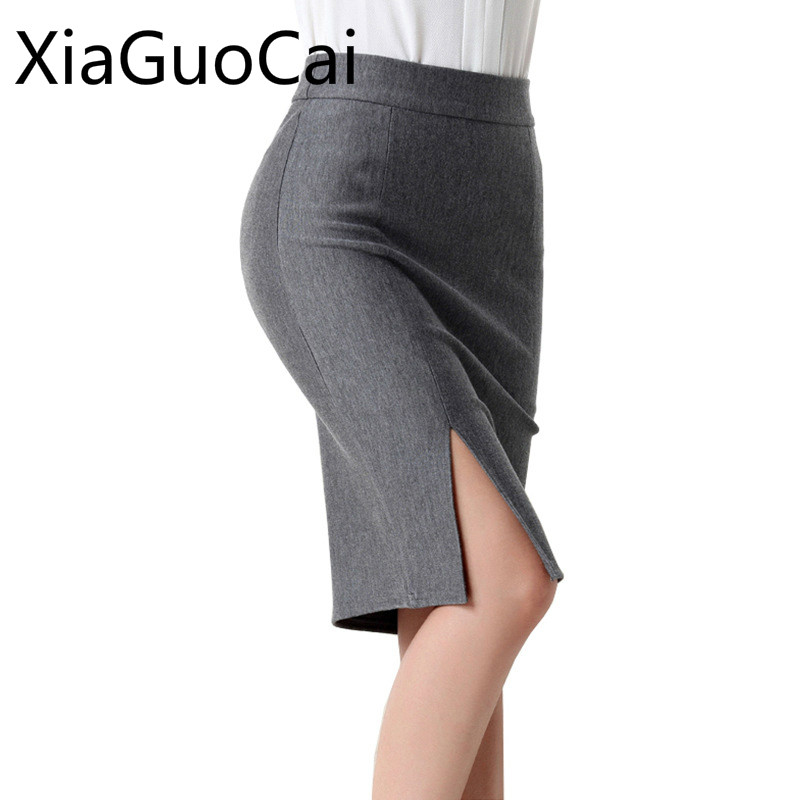Spring And Autumn Gray Women Skirts Knee-length Solid Female Pencil Skirts Empire Casual Work Open Fork Skirts Lu1 35