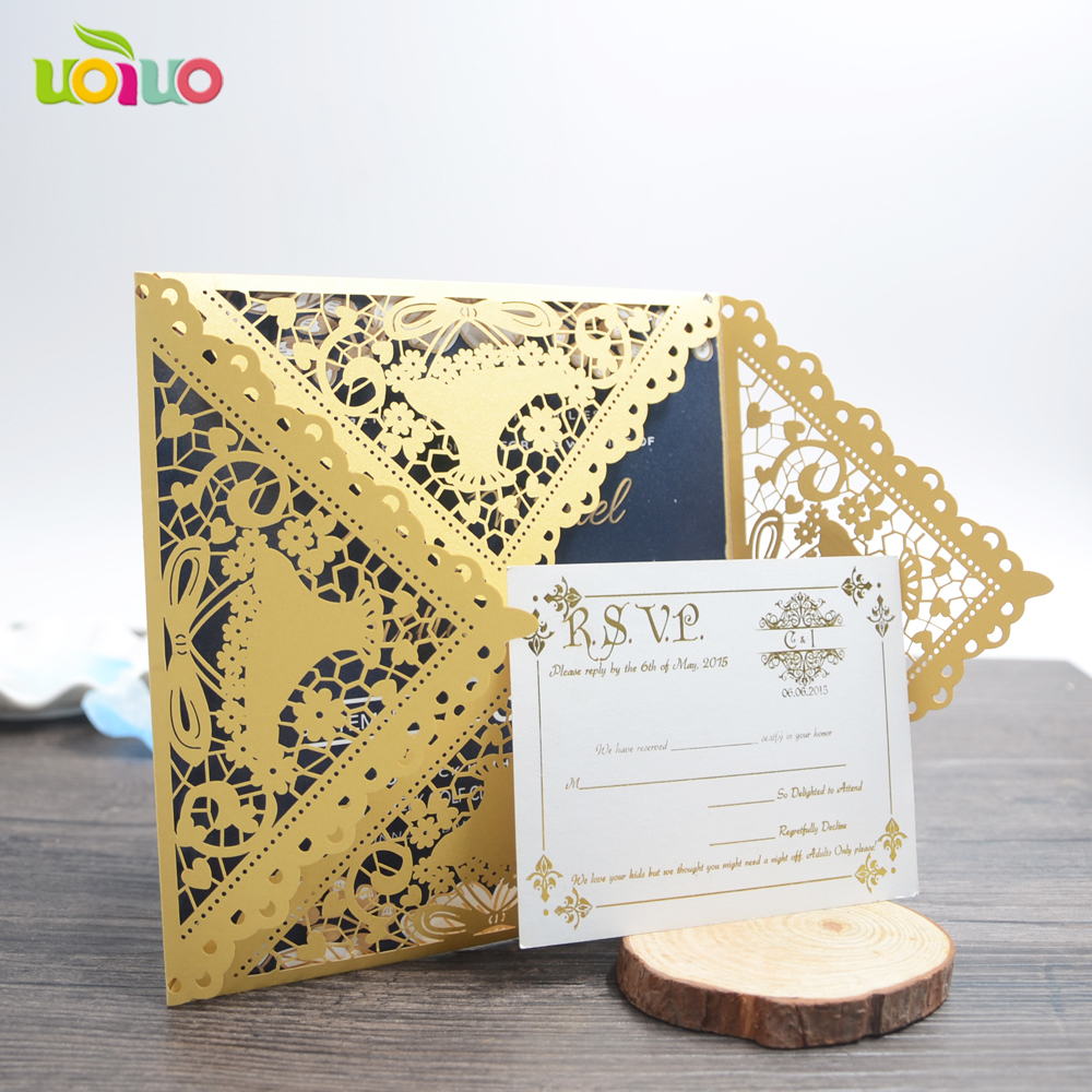 Laser cut four folded wedding invitation cards with insert paper and printed service for the insert paper of invitation card stopboris Choice Image