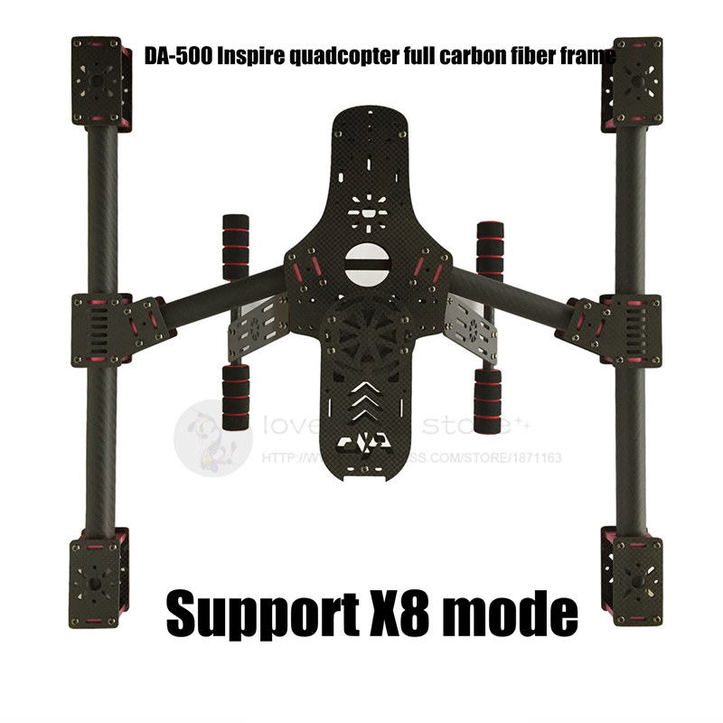 DIY FPV Aerial drones DA-500 Inspire quadcopter full carbon fiber frame Support X4 X8 mode diy fpv aerial quadcopter drone alien fq700 umbrella folding frame 25mm ultra thick aluminum arm support x8 mode
