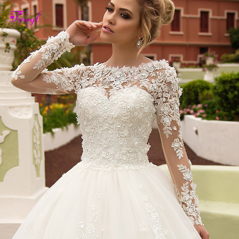 Fmogl Charming Appliques Long Sleeves A Line Wedding Dress 2019 Fashion Scoop Neck Lace Up Princess