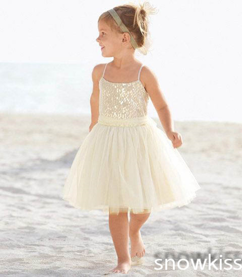 New white/ivory nice spaghetti straps sequined knee length A-line flower girl dress beautiful square collar birthday party gowns new white ivory nice spaghetti straps sequined knee length a line flower girl dress beautiful square collar birthday party gowns