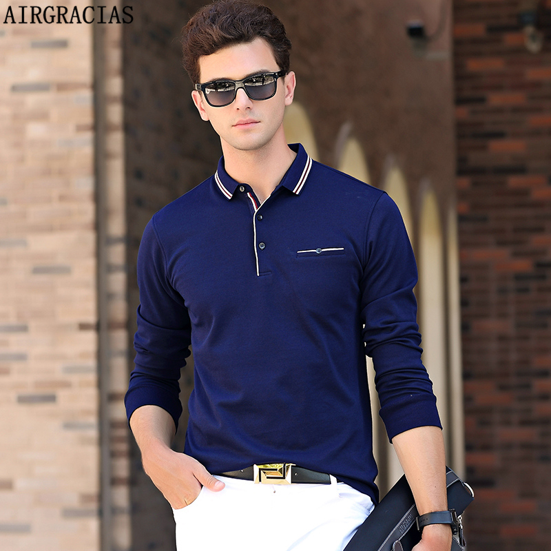 AIRGRACIAS   Polo   Shirt Men Solid Color Long-Sleeve Men's   Polos   New Arrival Breathable Brand Clothing Camisa   Polo   Shirts 8890
