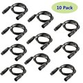 10 Pack 3-Pin Signal XLR Connection DMX Stage Light Cable Wire 6.5ft/2m for Moving Head Light Par Light