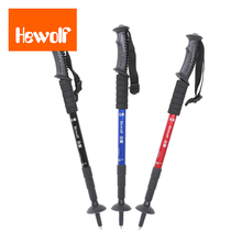 Hewolf Adjustable 4 Sections Ultralight Aluminum Alloy Telescopic Walking Stick Trekking Alpenstock Climbing Hiking Pole Canes