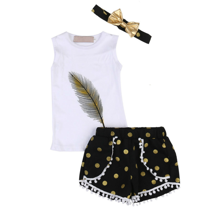 Hot Selling 3PCS Casual Set Kids Girl Outfits Sleeveless Feather Vest Tops Dot Shorts Headband Summer Cute Baby Girls Clothing cute girls kids summer outfits clothes white lace crochet vest tops shorts briefs set clothes back bandage clothing 2 7y