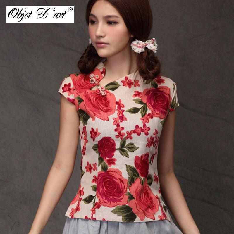 Chinese Traditional Slim Qipao Cotton Linen Women Blouse Vintage Oblique Lapel Buttons Cheongsam Shirt Short Sleeves Qipao Tops