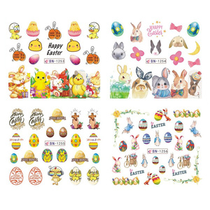 Image 4 - 12 pçs coelho da páscoa prego água adesivos decalques dos desenhos animados ovo pintainho unha arte sliders envoltórios polonês decoração manicure TRBN1249 1260
