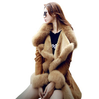 Winter Fur Coat Women Fur Lining Thicken Artificial Sheepskin Coat Ladies Faux Fur Parka Jackets Women's Luxurious Long Overcoat