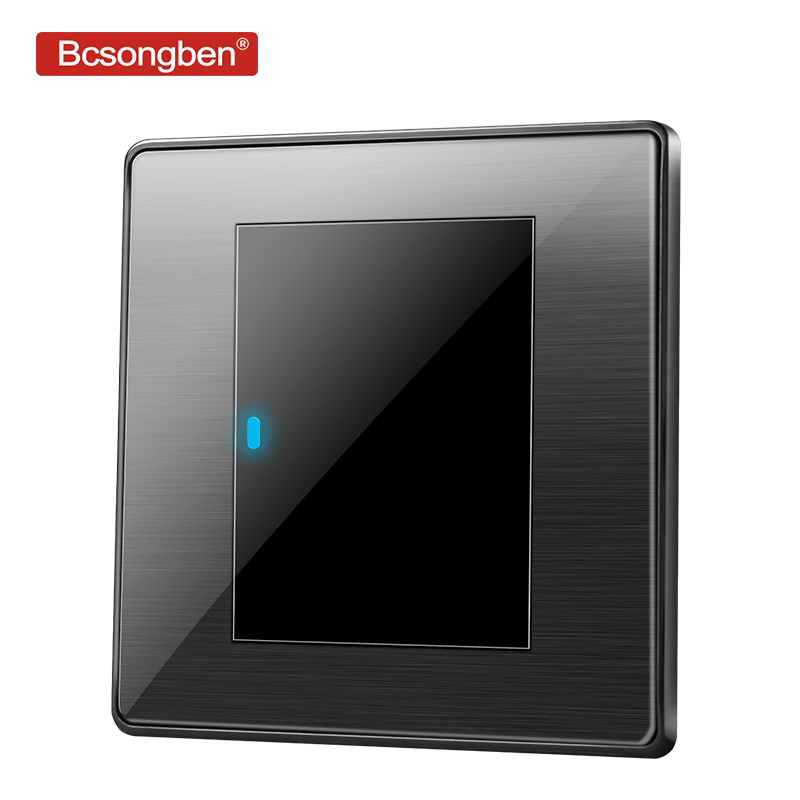 Bcsongben standard switch push button light switch wall Black stainless steel acrylic 1 Gang 2 Way Switch AC 110-250V kd1-1k2Bcsongben standard switch push button light switch wall Black stainless steel acrylic 1 Gang 2 Way Switch AC 110-250V kd1-1k2
