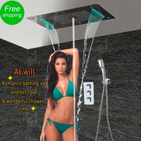 Bathroom Shower Set with LED Ceiling Shower Head Thermostatic Concealed Panel Luxury Bath Shower Waterfall Bubble Mist HF5422
