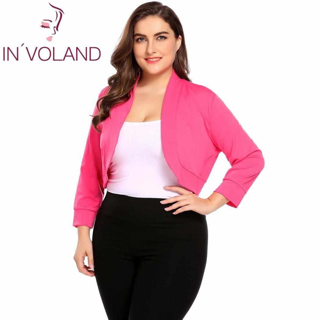 527bfbf0c9745 IN'VOLAND свитер пальто для женщин топы корректирующие демисезонный  короткие Болеро плюс размеры XL-