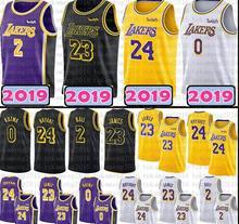 427ebe2c368 Los Angeles 24 Kobe Bryant 23 LeBron James Lakers Jersey Black Gold 2 Lonzo  Ball 0