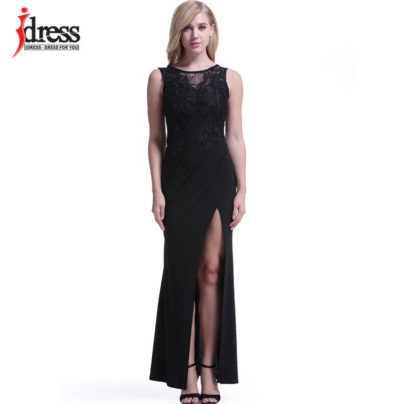 IDress Women Clothing Fashion 2017 Vestido Sexy Bodycon Summer Evening Long Dress O Neck Floor Length High Slit Black Maxi Dress (9)