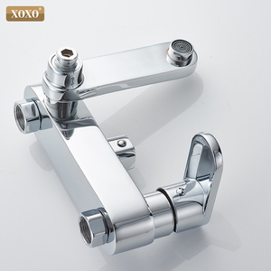 Image 5 - XOXO מודרני סגנון אוטומטי כפתור נחושת כרום מים קרים וחם מים מקלחת ברז סט גובה התאמת מקלחת מוט 9710