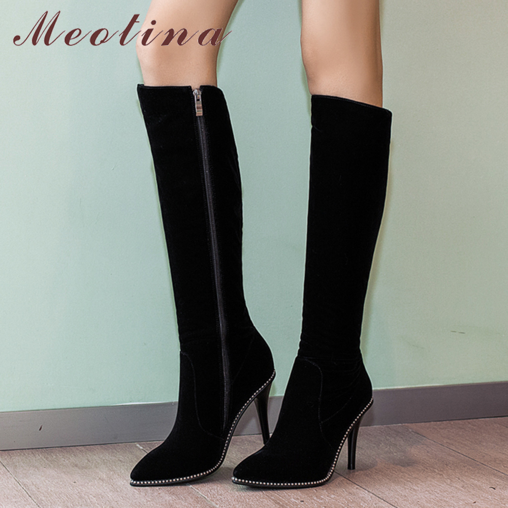 Meotina Thigh High Boots Women Knee High Boots Winter Pointed Toe High Heel Boots Fashion Zip Black Lady Long Shoes Plus Size 9 jialuowei women sexy fashion shoes lace up knee high thin high heel platform thigh high boots pointed stiletto zip leather boots