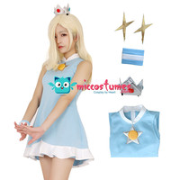 Mario Tennis Rosalina Cosplay Costume Dress with Crown