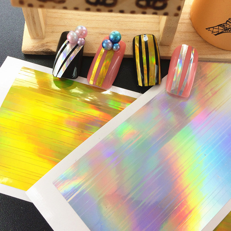 New Gold Silver Laser Nail Art Striping Tape Line Stickers 3d Glitter - Nagel konst