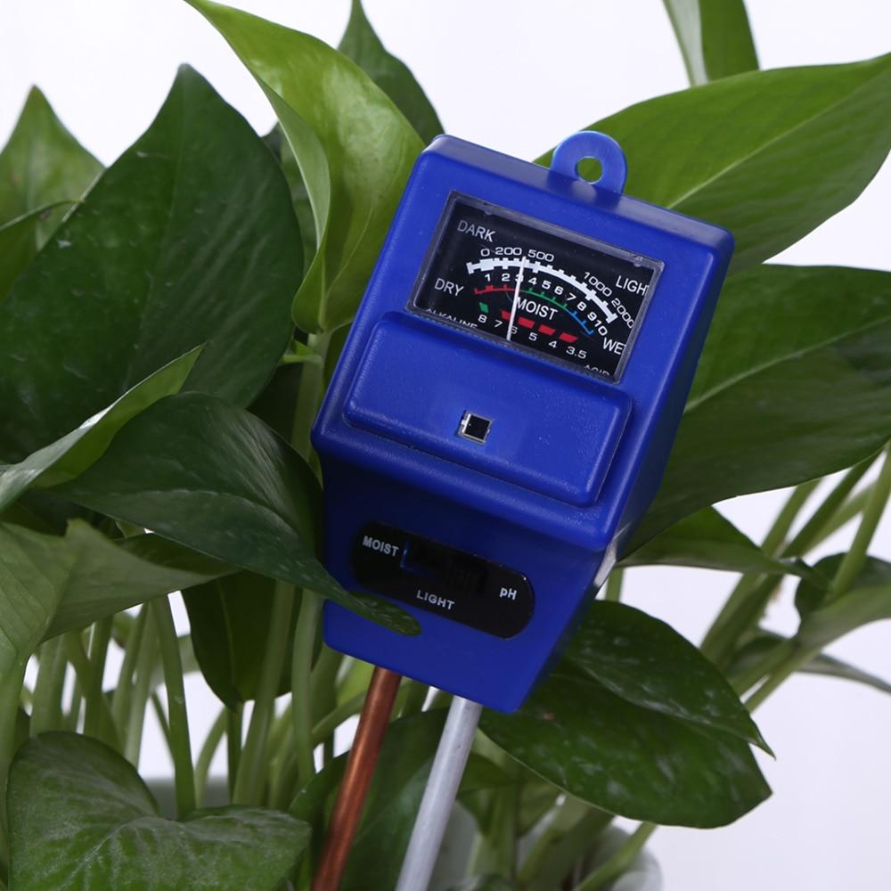 3 en 1 Humedad del suelo Agua Luz del sol Monitor Medidor de pH Analizador de luz Analizado para flores Probador de temperatura Herramienta de jardín