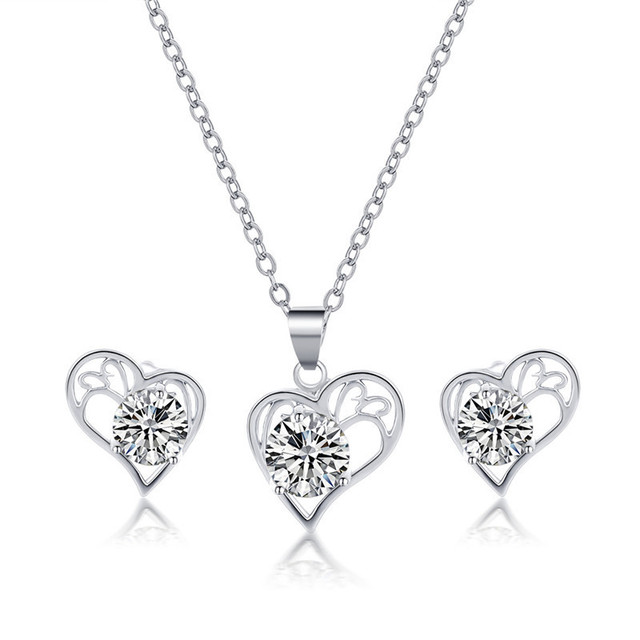 Heart Cubic Zircon Crystal Pendant, Chain and Earrings Set