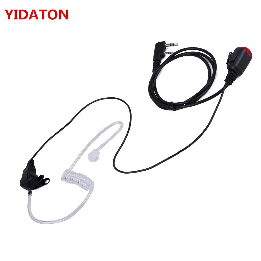 Para Baofeng uv-5r Kenwood Radio nuevo 2 PIN Mic PTT Covert acústico tubo auricular in-ear 888 s Walkie Talkie auricular auriculares