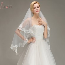 Voile Mariage Short Elbow Two Layers Wedding Veil With Comb Lace Edge Cheap Ivory Bridal Accessories Veu de Noiva