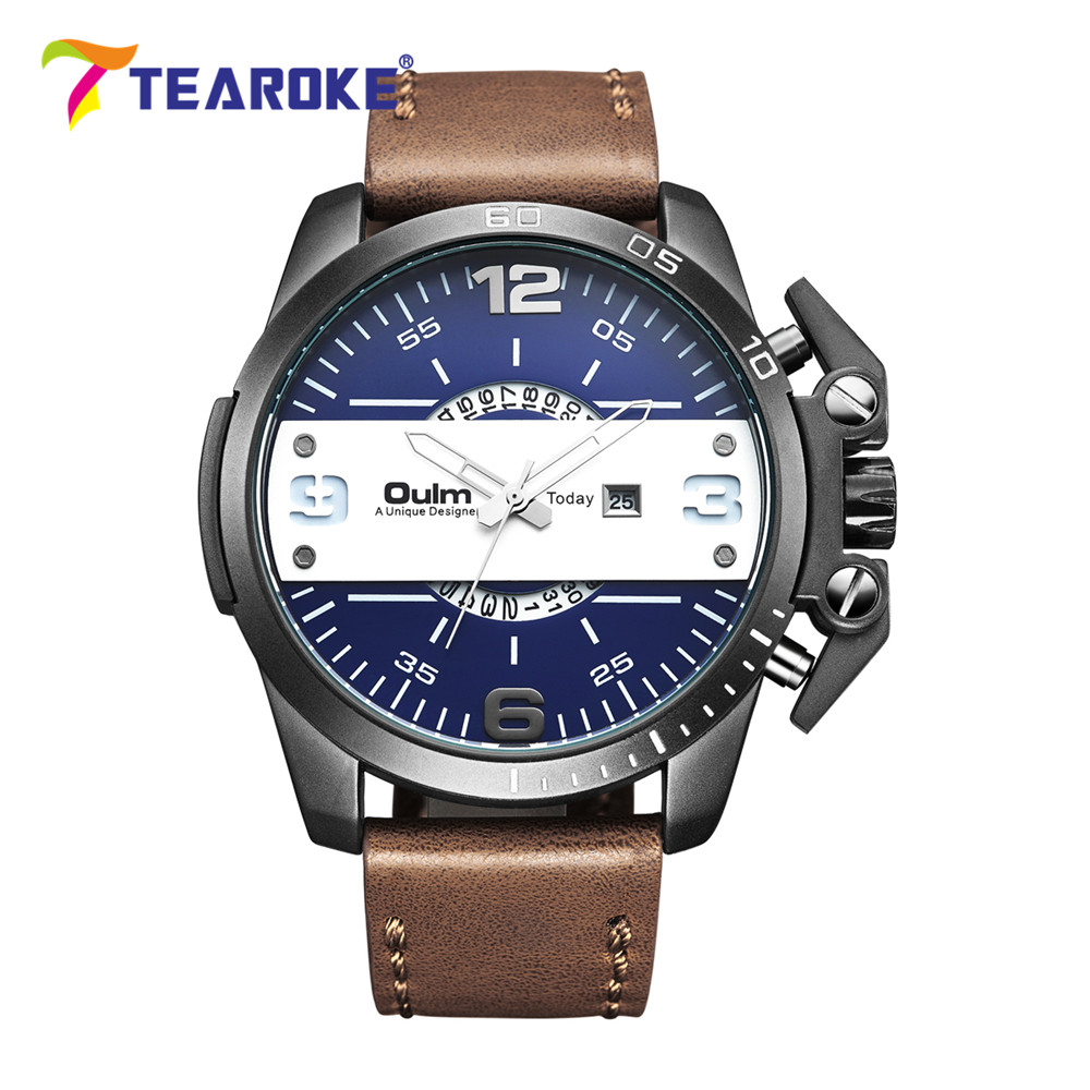 TEAROKE Oulm Men Watch Military Quartz Watch Luxury Leather Strap Date Fashion Casual Clock Male Sport Watch Wristwatch Big Dial oulm multi function 3 movt quartz leather wristwatch men military sports watch