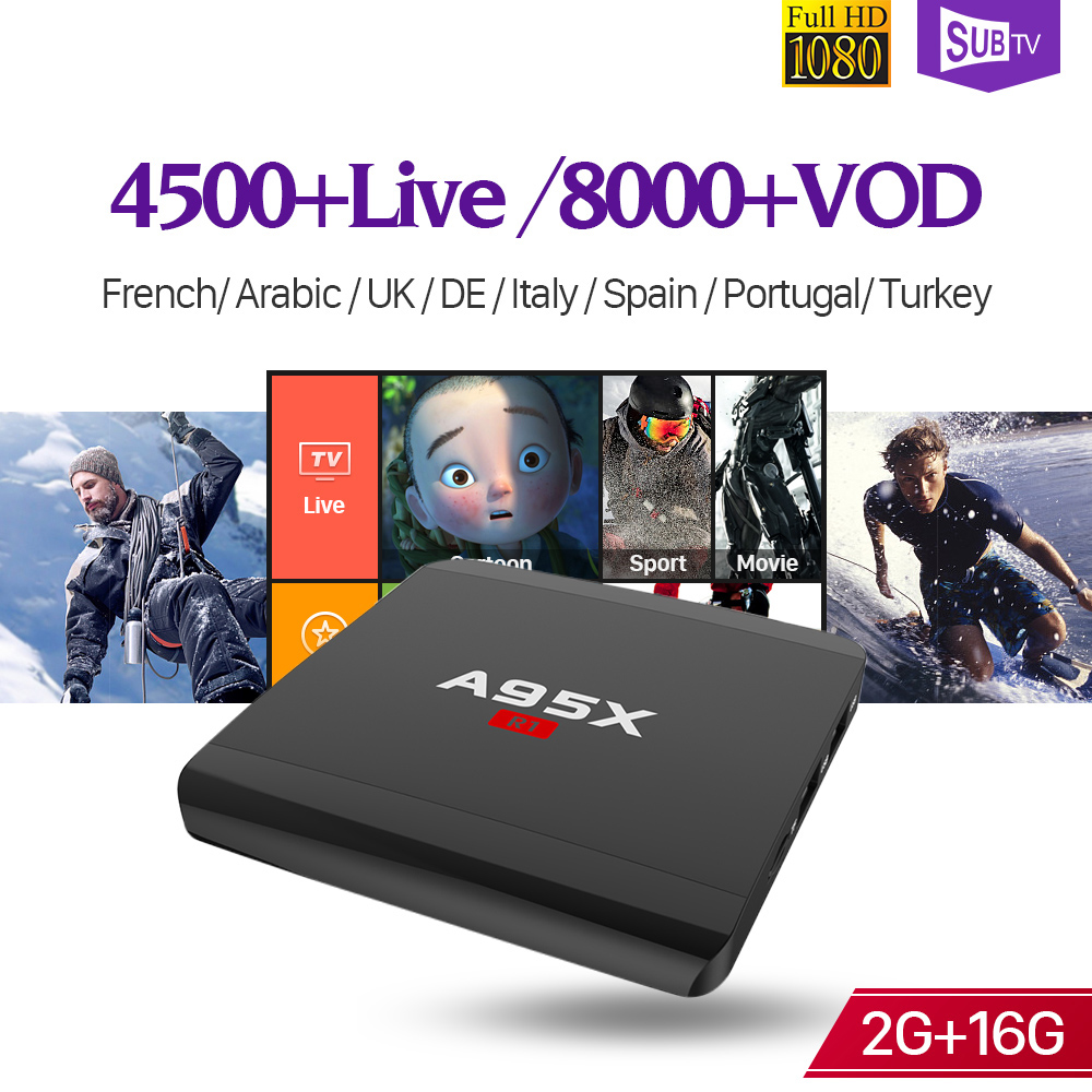 Full HD IPTV Live SUBTV Box A95XR1 S905W 4K 2G 16G WiFi Android French Italy Arabic Portugal Turkey IPTV Subscription 1 Year a95x pro voice control with 1 year italy iptv box 2g 16g italy iptv epg 4000 live vod configured europe albania ex yu xxx