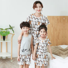 Summer Holiday Family Matching Outfit Cotton Boys Sets Pajamas Mother Daughter Son Matching Clothing Sets Stripe Girl Dresses(China)