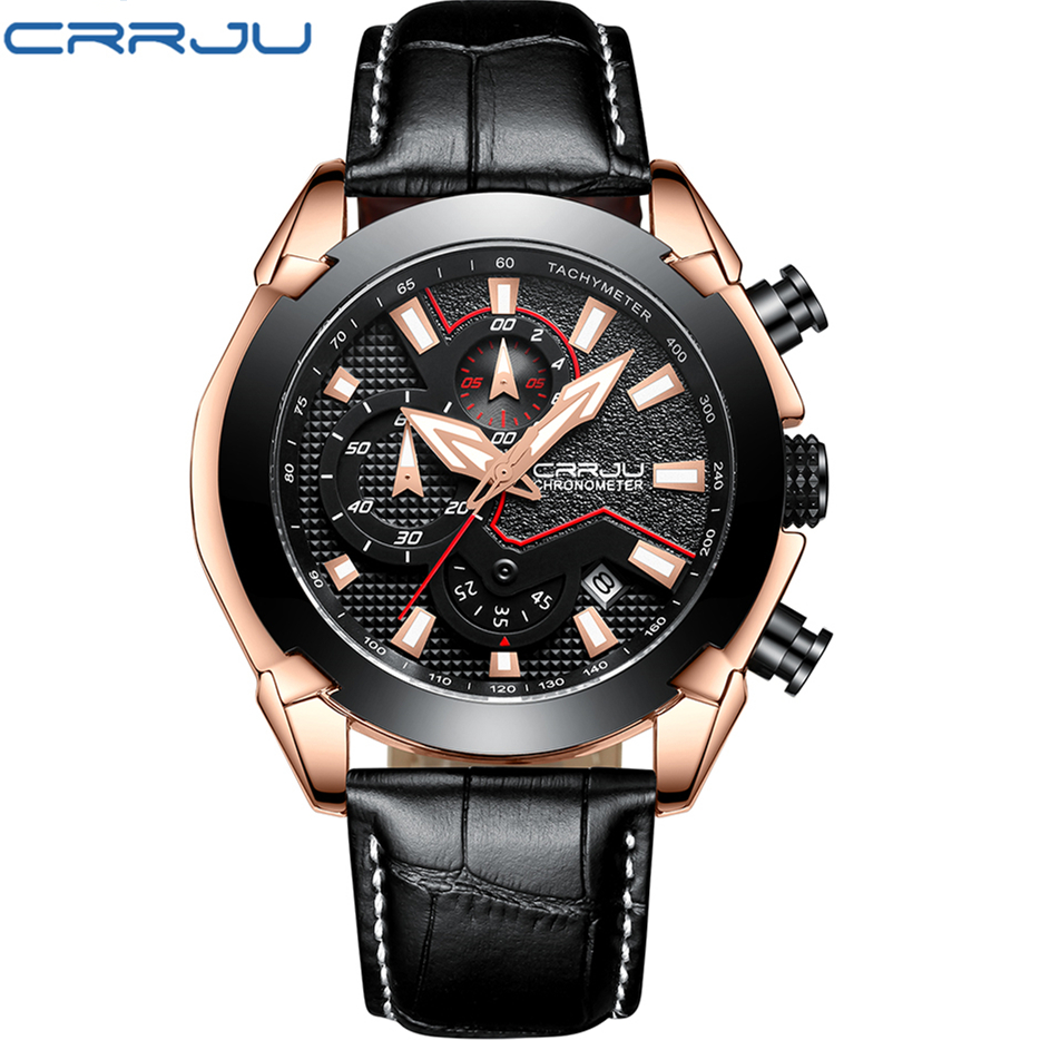 Reloj Multifuncion Leather Quartz Watches Reloj hombre 2018 CRRJU Fashion Casual Sport Men's Watch Waterproof Male Wristwatch reloj hombre sports watch waterproof led digital male watches 2016 alarm calendar fashion casual quartz men sport wristwatch