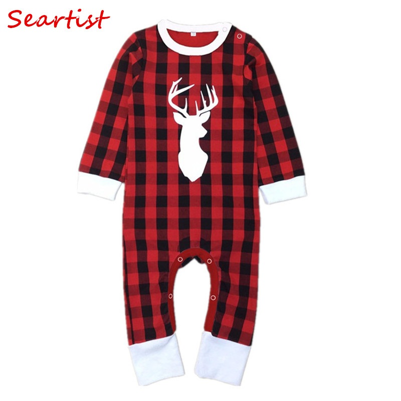 Seartist Christmas Jumpsuit Baby Boys Girls Rompers Newborn Reindeer Winter Red Plaid Pajamas for Newborns Kids Clothes 2018 38C christmas case reindeer pattern for iphone 7 red