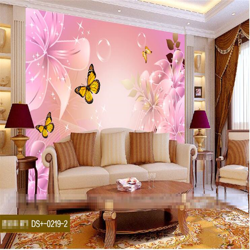 Mural Wallpaper for Living Room Pink Lily Flower Art Curve Butterfly ...