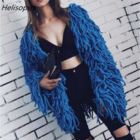 Helisopus Warm Knitting Shaggy Jacket Hairy Faux Fur Spring Winter Soft Women Overcoat Slim Solid Color Short Cardigan Coat