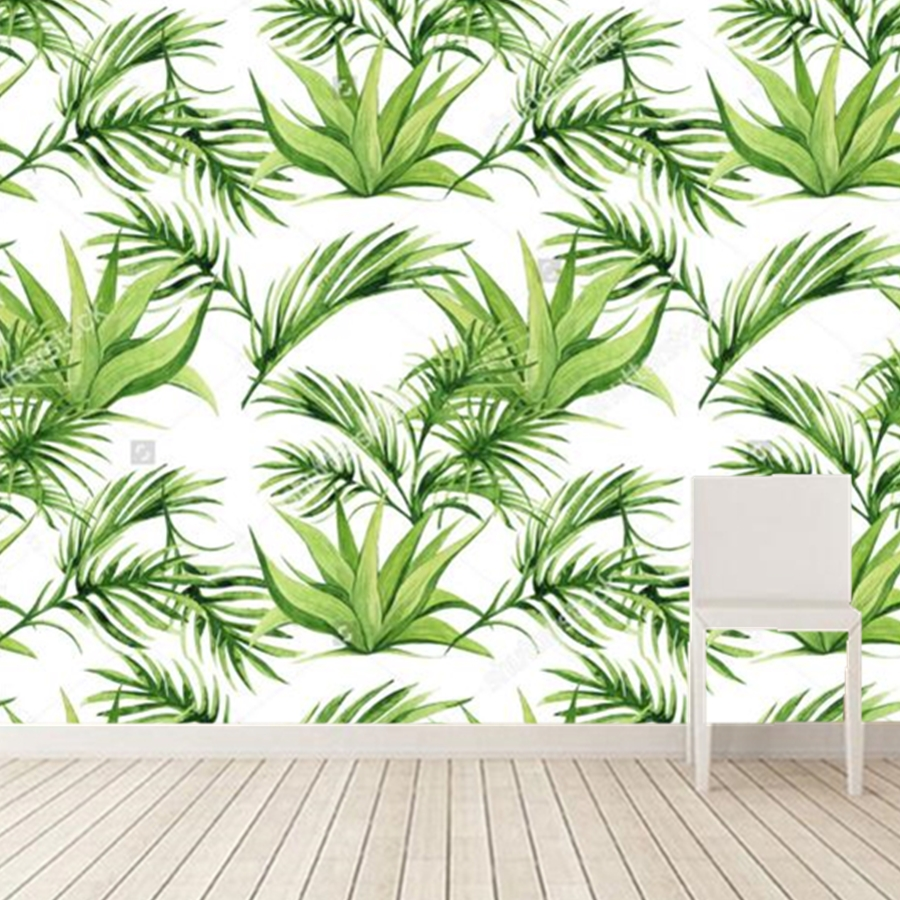 Custom 3D murals,Tropical Leaves Print Wallpaper,hotel room restaurant living room bedroom TV wall kitchen wallpaper customize leaves blue sky and white clouds 3d ceiling murals wallpaper living room bedroom
