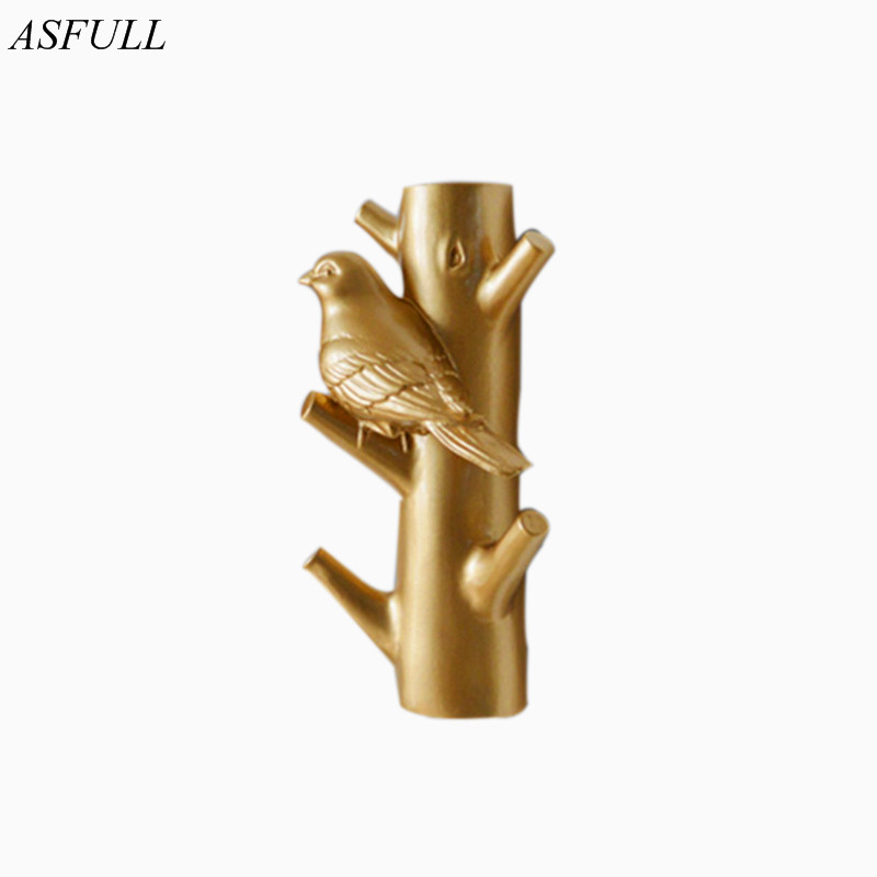 ASFULL Nordic bird and trunk hanging decorative hooks Bionic hight-grade birdie resin craft home wall decorative sculpture