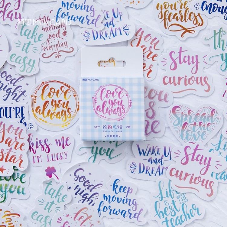 2box/lot Watercolor Calligraphy Scrapbooking Love You Decorative Stickers Cute Paper Crafts Journal Sticker Set Box Sticker