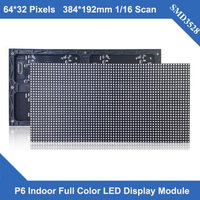 TEEHO Indoor full color video wall LED P6 indoor SMD 3in1 LED module panel 1/16scan 384*192mm led screen sign LED display module