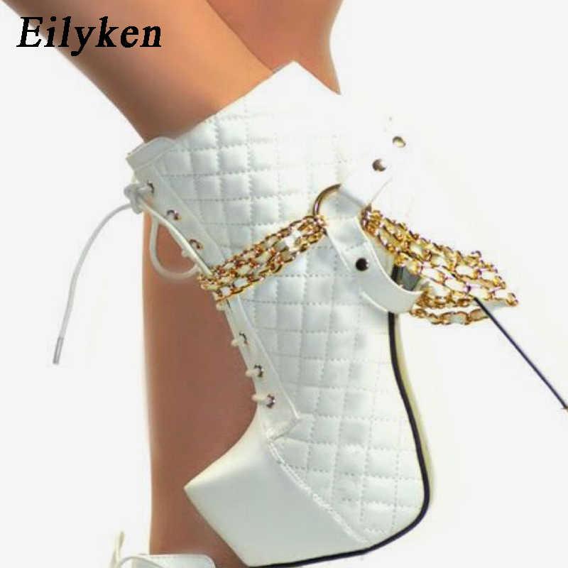 Eilyken 2020 sonbahar kış moda bayan botları süper yüksek platformu sürme, binicilik patik zincir perçin bayanlar ayakkabı pompaları