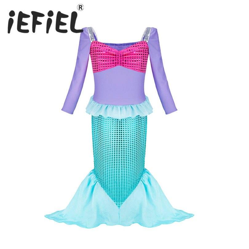 4pcs Little Mermaid Tail Costume Princess Ariel Child Mermaid Tail Cosplay Children Wear Girls Fancy Swimwear Halloween Dresses Delicacies Loved By All Mother & Kids