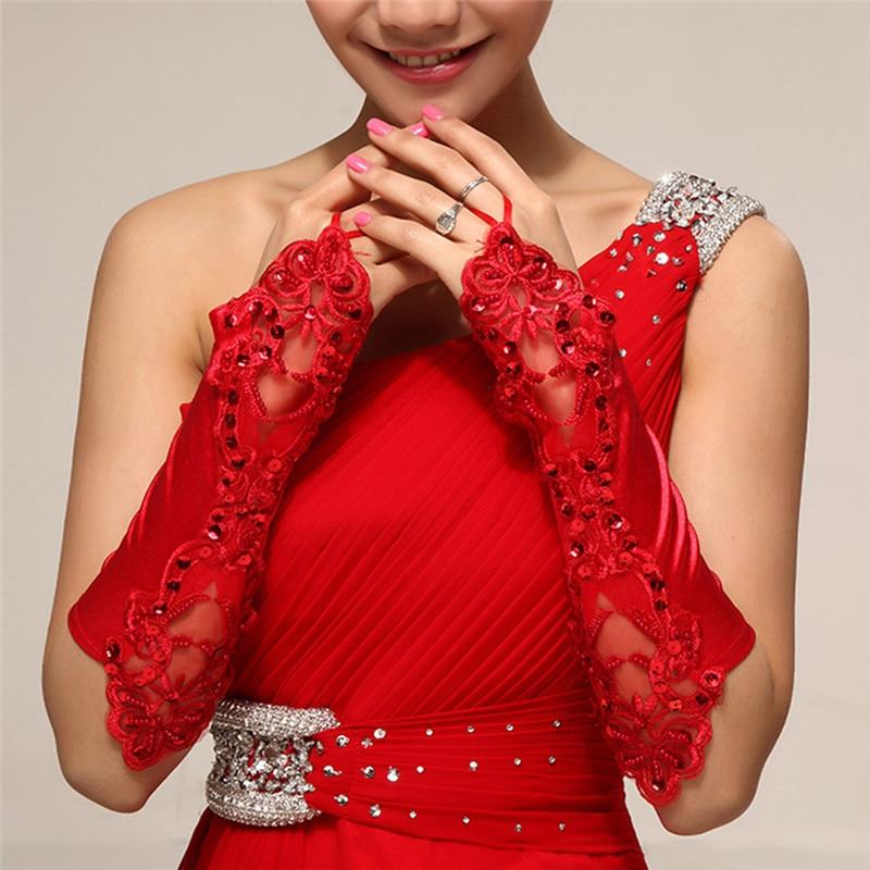 6 Colors Gloves Fingerless Satin Party Prom Bride Gloves For Women 2017 New Fashion Female Long Gloves