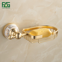 FLG Jade gold Aluminum space soap soap shelf storage network creative bathroom toilet soap rack European ceramics все цены