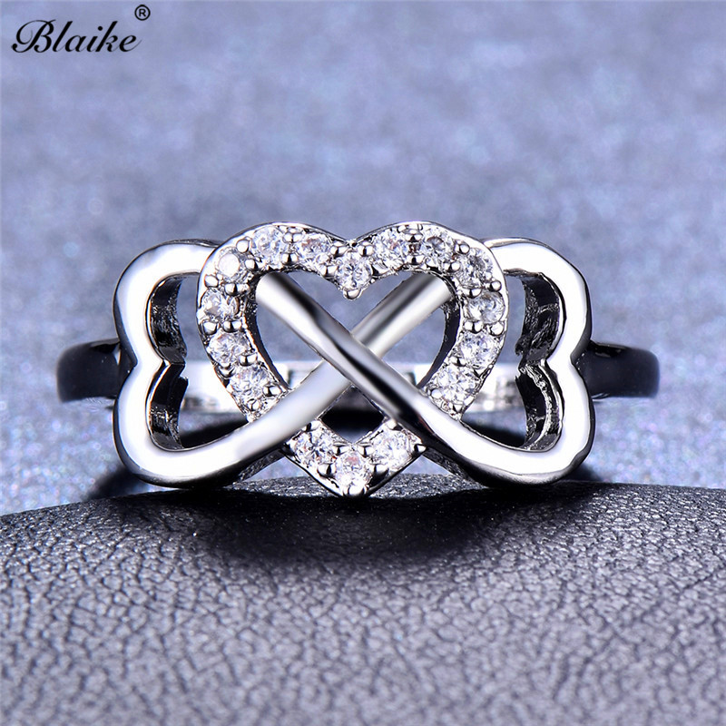 Blaike Infinity Love Heart Corssed Rings For Women Vintage ...