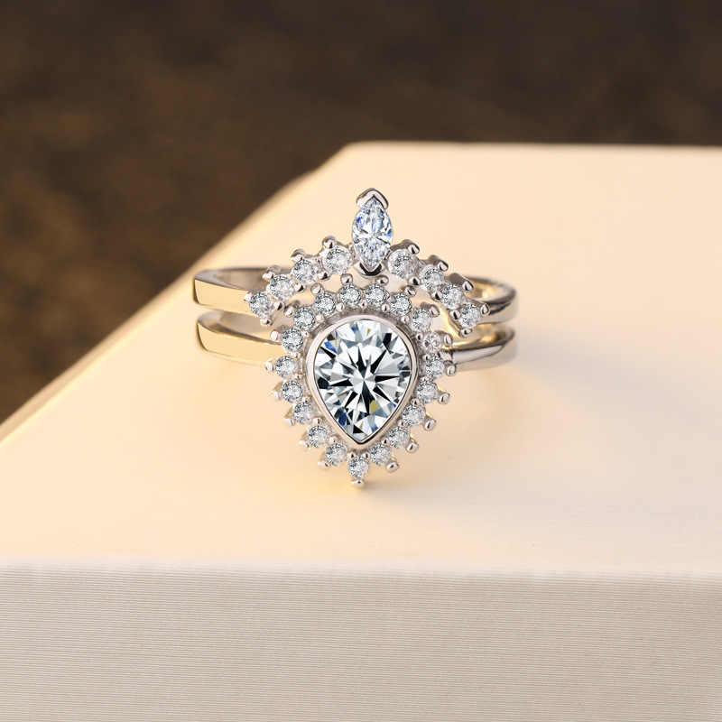 Повседневная вода в виде капель, грушевидной формы, имитация бриллианта Кольцо женское Королевское обручальное кольцо из драгоценных камней