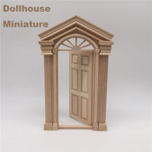 1/12 Dollhouse Miniature Furniture 6 Panel Wooden Interior Door Gate For KIds Gift Doll Houses DIY Vintage Pretend Play Toys(China)