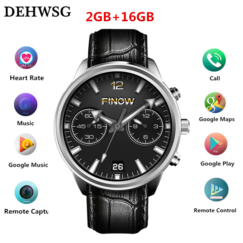 DEHWSG X5 MAX Smartwatch 2GB+16GB MTK6580 Android 5.1 watch phone BT Music heart rate wearable devices smart watch men PK Huami