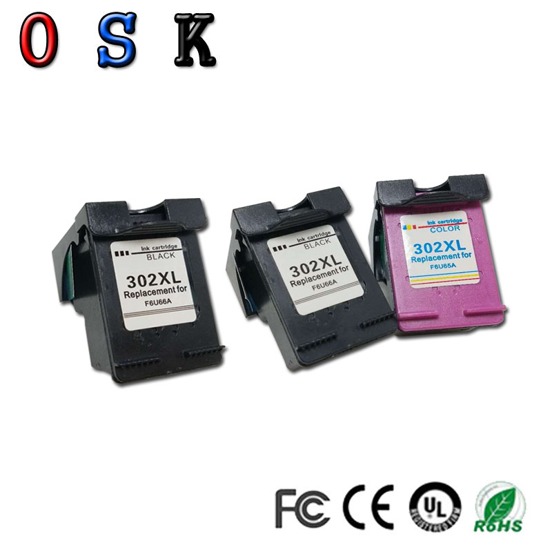 OSK 3PC 302XL Compatible For HP302XL <font><b>ink</b></font> cartridges for <font><b>HP</b></font> <font><b>Deskjet</b></font> 1110 1111 1112 <font><b>2130</b></font> 2131 2132 3630 <font><b>printer</b></font> image