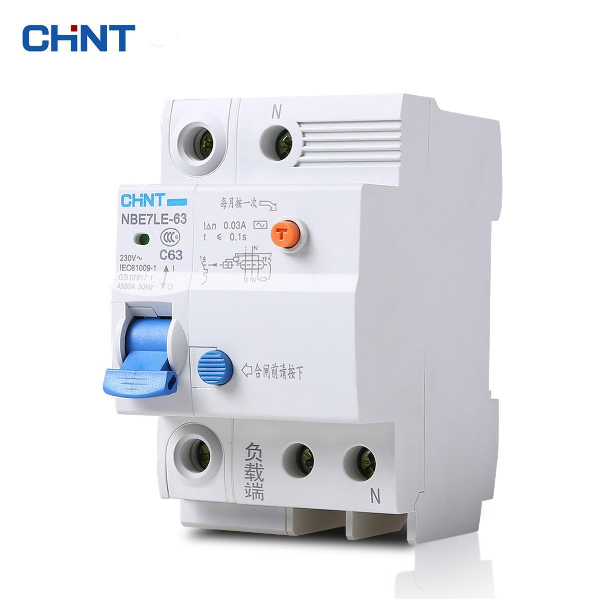 CHINT NBE7LE 1 p + N 63A Piccola Terra Interruttore di Protezione di Scossa Elettrica Per Uso Domestico di Perdita
