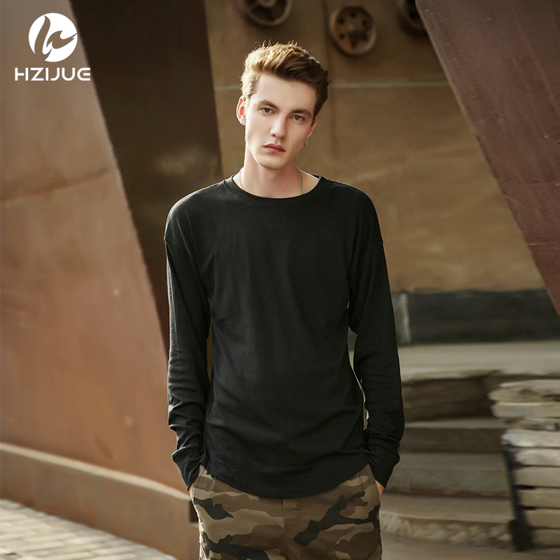 HZIJUE 2017 Kanye Extended Men High Low Side Casual oversize Men Hip Hop T Shirt Justin Bieber Style Clothes curved hem Tee tops