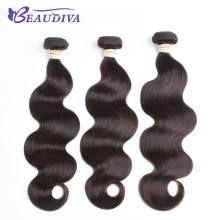 BEAUDIVA Pre Colored Human Hair Weaving Colored Body Wave Bundles 2 Dark Brown Three Bundles Remy