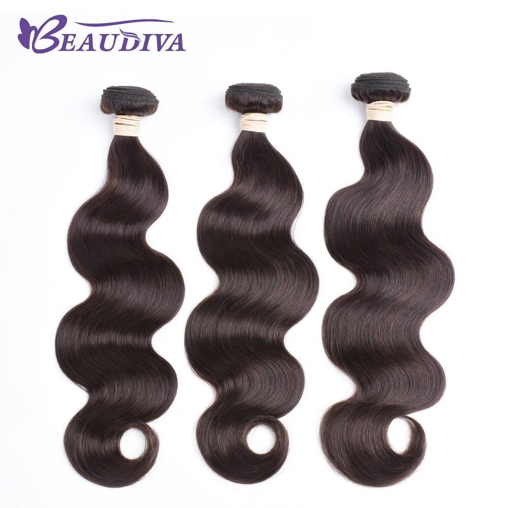 BEAUDIVA wstępnie kolorowe ludzkich włosów tkania kolorowe doczepy typu body wave 2 # ciemny brąz trzy zestawy 100% ludzki włos darmowa wysyłka w Warkocze od Przedłużanie włosów i peruki na AliExpress - 11.11_Double 11Singles' Day 1